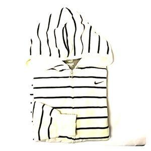 Nike Velour Striped Zip Up Hoodie